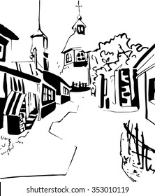 ink street line art. graphics house pattern house pattern of streets , the romance of the city , line art , line drawing, coloring , cover , line- art house , line art street , line art quarter.