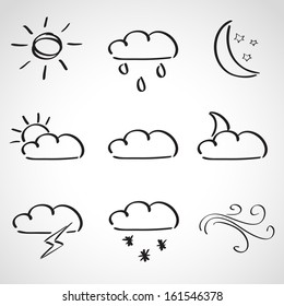 Ink style hand drawn sketch set - weather icons