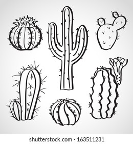 Ink style hand drawn sketch set  - cactus set