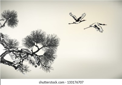 Ink style Pine Tree and crane
