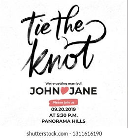 Ink Tie The Knot lettering wedding phrase invitation template