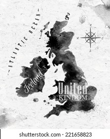 Ink United kingdom and Scotland map in  black and white graphics in vintage style