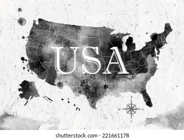 Ink United States map in black and white graphics in vintage style