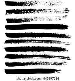 Ink vector brush strokes set. Vector illustration. Grunge hand drawn watercolor texture.