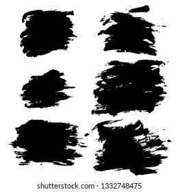 Ink vector dry brush frame set. Vector illustration. Grunge hand drawn watercolor texture. Space for text.