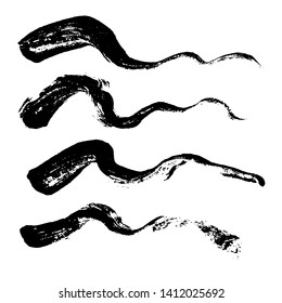 Ink vector dry wave brush strokes set. Vector illustration. Grunge texture.