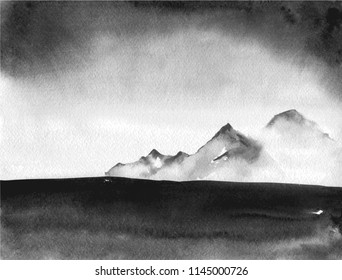 Ink wash painting landscape with distant mountains and thunderstorm clouds. Traditional oriental ink painting sumi-e, u-sin, go-hua