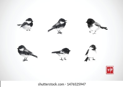 Ink wash painting of little black birds on white background. Traditional oriental ink painting sumi-e, u-sin, go-hua. Hieroglyph - spirit.