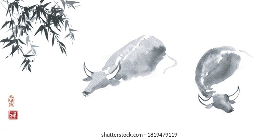 Ink wash painting of two buffalo bulls in water. Traditional oriental ink painting sumi-e, u-sin, go-hua. Translation of hieroglyph - zen.