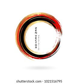 Ink zen circle emblem. Hand drawn abstract decoration element. Black, gold and red