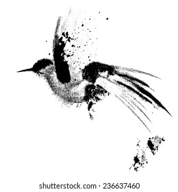 Ink-drawn flying bird. 8