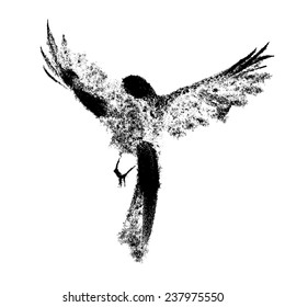 Ink-drawn flying birds 1e
