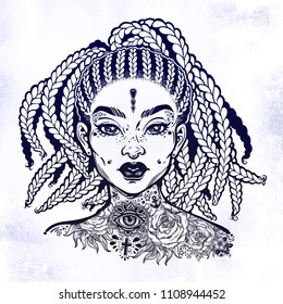 Inked African American pretty confident girl. Black woman decorative neck flash tattoo. Attractive woman portrait with hair made in braided style, beautiful tattooed face. Isolated vector illustration