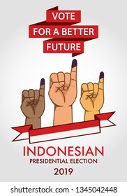 Inked finger shows that indonesian citizen is being a part of the presidential election called PEMILU.
