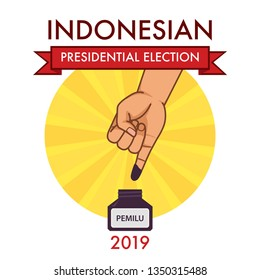 Inked finger shows that indonesian citizen is being a part of the presidential election called PEMILU. - Vector