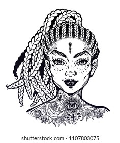 Inked Hispanic Latin or African American pretty girl, decorative neck flash tattoo. Attractive woman portrait with hair made in braided style, beautiful tattooed face. Isolated vector illustration.
