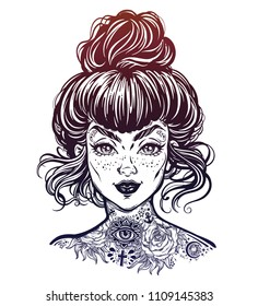 Inked woman portrait with vintage bun hair, neck flash tattoo. Tattooed pierced beautiful girl face with freckles. Rockabilly style. Isolated vector illustration.