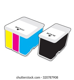 Inkjet cartridges CMYK - Vector illustration