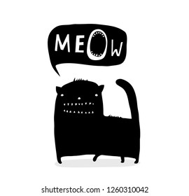 Inky Funny Cat Talk Meow. Cat speech bubble with quirky animal design.