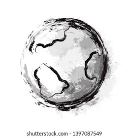 Inky illustration of the planet Earth with seas and continents and with grunge brush strokes and watercolor splashes. Vector element for articles, cards and your design.