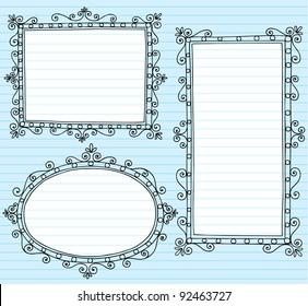 Inky Notebook Doodle Borders Frames with Swirls- Vector Illustration Design Elements on Lined Sketchbook Paper Background