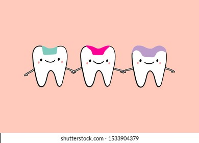 Inlay onlay overlay together friends holding hands drawing illustration in cartoon style tooth treatment dentistry