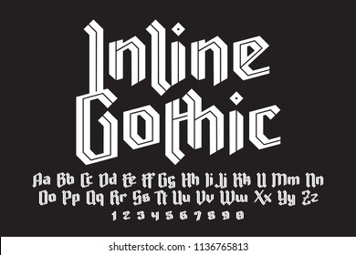 Inline gothic alphabet. Bright modern letters. For best logo, slogan, fachion and package design. Vector illustration