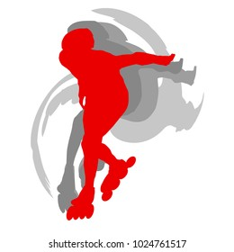 Inline skate kid training vector background red motion concept