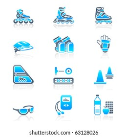 Inline skating boots, protection, accessories and related objects icon-set