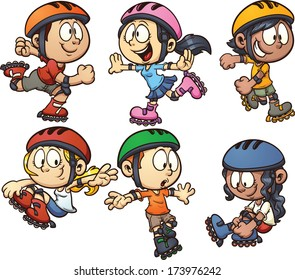In-line skating kids. Vector cartoon clip art illustration with simple gradients. Each on a separate layer.