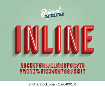 """Inline"" Vintage 3D Condensed Alphabet. Old School Retro Typography. Vector Illustration."
