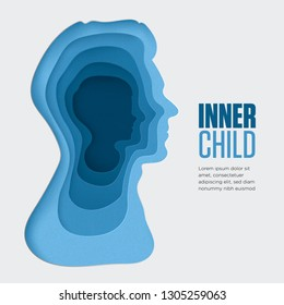 Inner child illustration. 3D layered background with blue paper cut shapes. Colorful carving art for psychology. Vector design layout for presentations, flyers, posters and editorial illustration