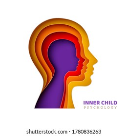 Inner child psychology concept. Man's head with age layers in realistic paper cut style. Vector illustration. Colorful papercut human silhouette isolated on white background for psychotherapy design.