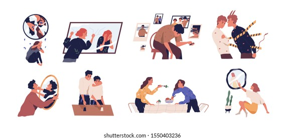 Inner conflict flat vector illustrations set. Internal demons metaphor. People listening to inner voice concept. Patients suffering from mental disorders, psychological diseases, schizophrenia.