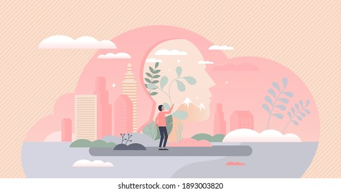 Inner kid feeling as hidden personality part and childhood experiences reflection tiny person concept. Mental ego with playful and dreamer individuality characteristics head layer vector illustration.