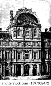 Inner Façade of the Louvre a historic monument a central landmark of Paris the Right Bank of the Seine in the 1st arrondissement vintage line drawing or engraving illustration.