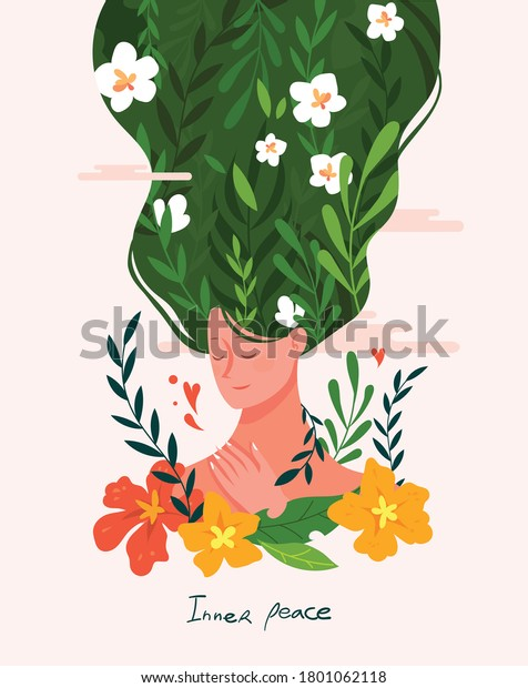 Inner peace and meditative thinking concept vector illustration. Beautiful women and natural beauty visual graphics.