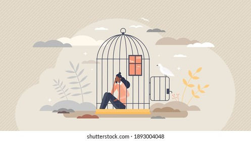 Inner prison as mental state with thought stuck and block tiny person concept. Psychological mindset as feeling like trapped in birdcage vector illustration. Helpless problem and despair situation.