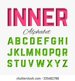 Inner shadow alphabet. Vector.