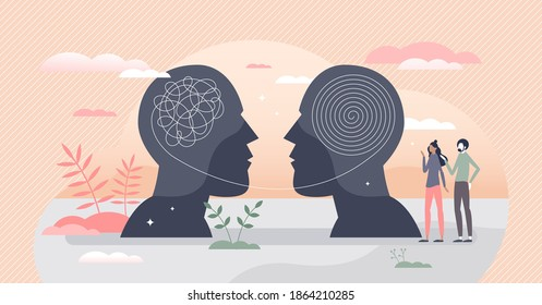Inner world as thoughts into head with emotions and feelings tiny person concept. Internal psychology with chaos and arranged mind after therapy vector illustration. Mental brain mindset health scene.