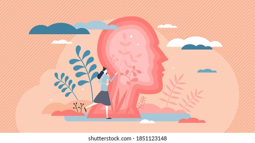 Inner world with woman personal emotions or psychological state tiny person concept. Feeling inside female head as soul balance and mental mood vector illustration. Abstract behavior style explanation