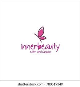 innerbeauty logo. butterfly. pink type.