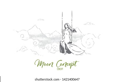 Innocence, loneliness and solitude, freedom abstract metaphor. Young and beautiful dreamy woman swinging above mountains in sky, sad girl among clouds sketch concept. Hand drawn vector illustration
