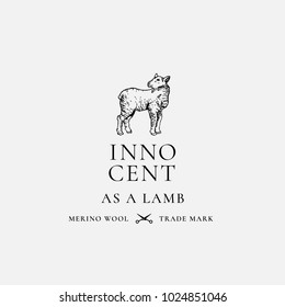 Innocent as a Lamb. Abstract Vector Sign, Symbol or Logo Template. Hand Drawn Lamb Sillhouette with Retro Typography. Vintage Luxury Merino Wool Vector Emblem. Isolated.