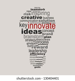 Innovate business concept made with words drawing a light bulb - easy colors change by selecting same fill color
