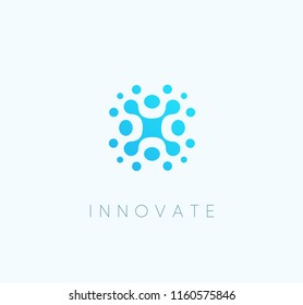 Innovate technoloy blue icon, abstract technological vector logo template.