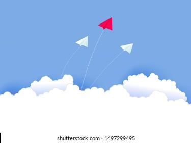 Innovation business concept paper airplane flying on blue sky. Creative teamwork art idea. Strategy leader, boss, manager, winner vision for banner, poster, cover. Vector illustration