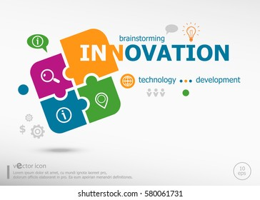 Innovation business concept word cloud on colorful jigsaw puzzle. Infographic business for graphic or web design layout