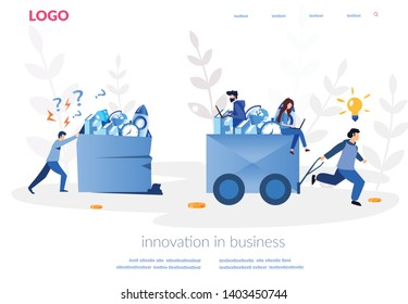 Innovation in business, One businessman using innovative technologies and winning and another lose the race, winning strategy, career rise to success, Business management, big competition, vector