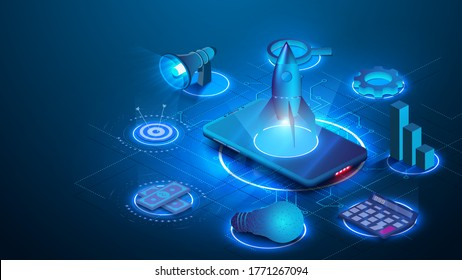 Innovation, business project  Start up launching product with rocket concept. Landing page template. Isometric  gear, light bulb, graph, speaker, phone on blue background. Easy to edit and customize